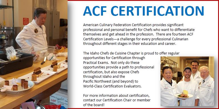 ACF Idaho Chefs De Cuisine > Certification